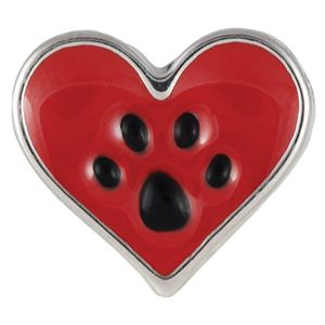 Picture of Dog Paw in Heart Charm